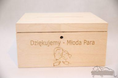 Drewniane pudełko na koperty ślubne małe-grawer 2