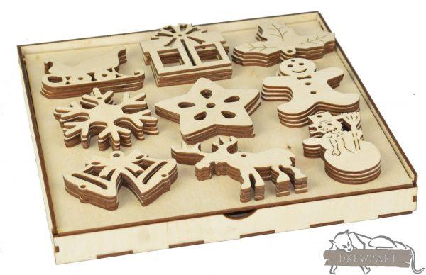 Ozdoby świąteczne ze sklejki w pudełku 5
