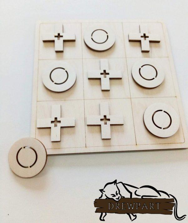Gra logiczna z drewna - kółko i krzyżyk 1