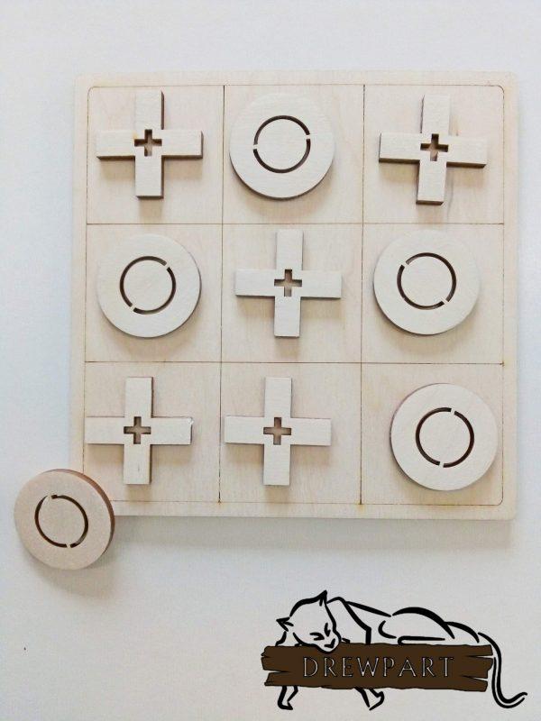 Gra logiczna z drewna - kółko i krzyżyk